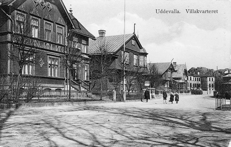 """Tryckt text på vykortets framsida: """"Uddevalla. Villakvarteret"""".    ::"""