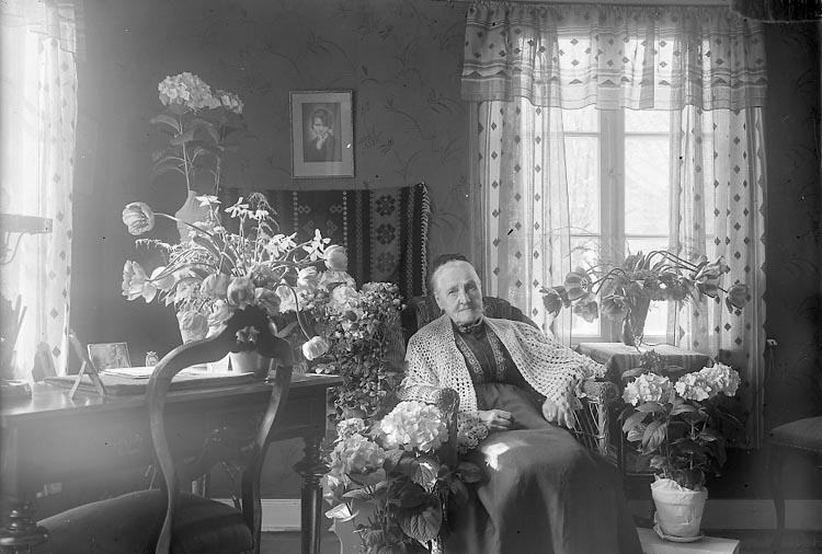"""Enligt fotografens journal nr 6 1930-1943: """"Johansson, Fru Amalia 80 år Här""""."""