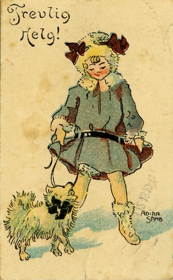"Kort: ""Trevlig Helg"". Flicka som rastar hund."