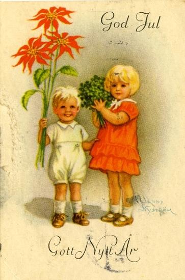 """Julhälsning. """"God Jul Gott Nytt År"""". Finklädda barn med buketter i händerna."""