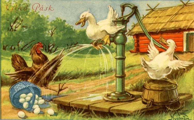 """Kort: Glad Påsk"""". Ankor som skvätter vatten från en handpump på en höna med en korg innehållande ägg."""