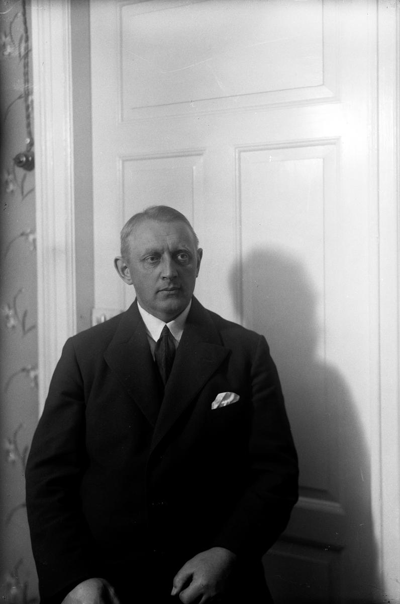 Porträtt av en man i kostym framför en dörr.