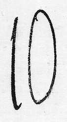 """Stämpel för lösenförsändelser med enbart siffror, i detta fall 35 mm höga i valören """"10"""". Användes för lösenförsändelser till Frankrike från 1855-1875 i Stockholm och Ystad i Hamburg 1855-1868.Från 1868-1875 även i Malmö och på pkxp 2, Södra stambanan. Stämpeln är fransk och utvisar lösenbelopp i decimer av francs."""