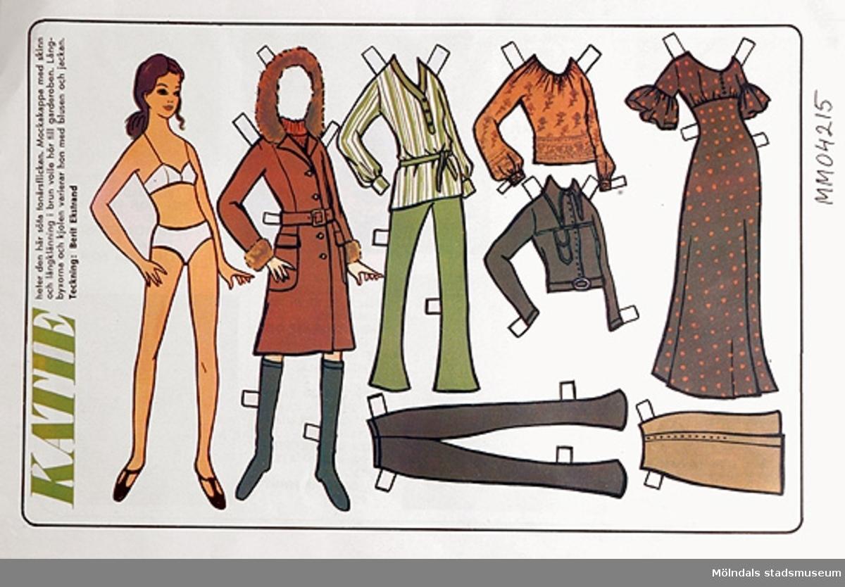 Klippdockan Katie, tonårsflickans kläder, outklippt från veckotidning.
