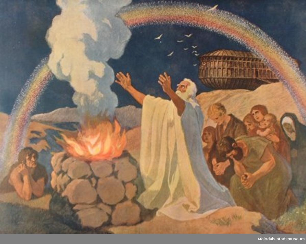 Kristendomskunskap.Noaks brännoffer efter arkens strandning på Ararat berg.