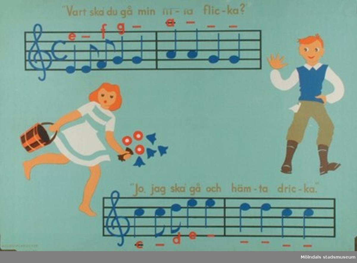 """Musik.""""Vart ska du gå min lilla flicka?""""Melodiplanscher av Elisabeth von Schwerin."""