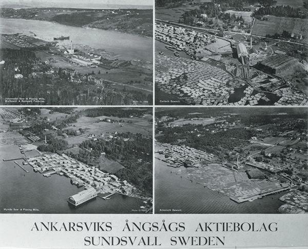 Flygbilder över Karlsviks sågverk, Myrnäs sågverk, Johannedals sågverk samt Ankarsviks sågverk. Alla tillhörande Ankarsviks AB. Vykort.