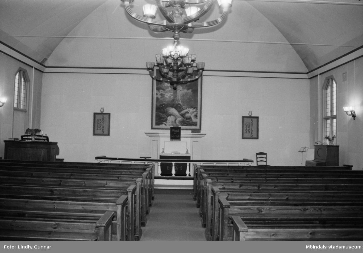 Metodistkyrkan på Brännåsvägen 3 i Forsåker, Mölndal, interiör.