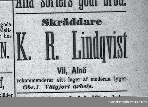 Annons för skräddaren K R Lindqvist, Vii, Alnö.