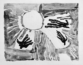 Frimärksförlaga till frimärket Världskampanjen mot hunger, utgivet 21/3 1963. Med anledning av FN-kampanjen mot hungern. Motivet är tre stycken sädesax samt stiliserade händer. Originalteckning och förslagsskisser utförda av Vera Nilsson.