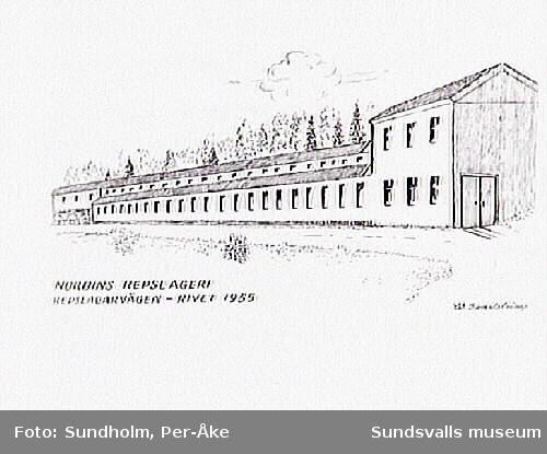 """""""Nordins Repslageri, Repslagarvägen - rivet 1955."""" Teckning av Waldemar Sandström."""