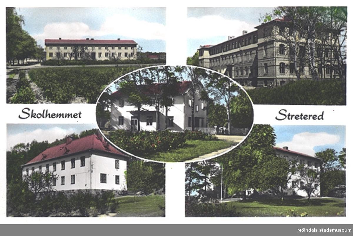 Fem mindre bilder, exteriört på Skolhemmet Stretered, sammansatta på ett vykort. Stora skolans tredje våningsplan är uppfört efter branden 1944. Kontoret är tillbyggt och har vitrappad fasad. Givaren, Karin Hasselberg, arbetade som sköterska/vårdarinna på Stretered.