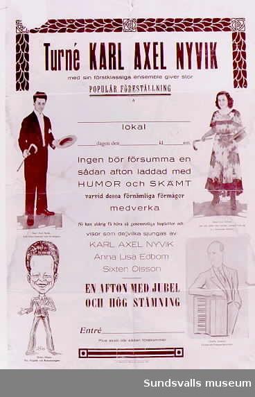 Affischer till föreställningar med revyskådespelare Karl Axel Johansson Nyvik