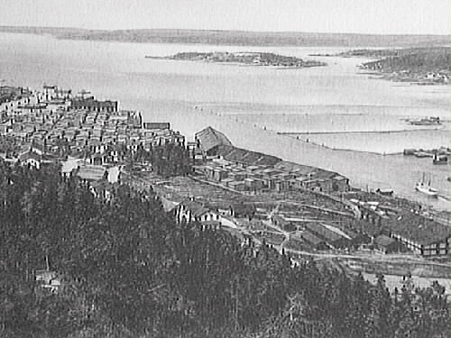 Svartviksbukten med Svartviks nya sågverk i förgrunden och brädgården i bakgrunden. Såverket anlades 1877 - 1878, driften upphörde 1942. Brevkort.
