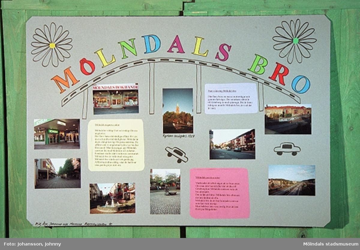 Utställning på Mölndals museum vecka 44 och 45 samt i Stadshushallen vecka 46, år 1996. Mölndalsbro i dag - ett skolpedagogiskt dokumentationsprojekt på Mölndals museum under oktober 1996. 1996_1364-1369 är gjorda av högstadieelever från Kvarnbyskolan 9C. Se även gruppbilder på klasserna 1996_1382-1405 och samtliga bilder från den färdiga utställningen 1996_1358-1381.