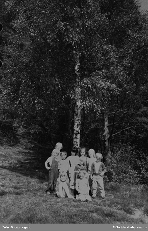 """Förskoleavdelningen Kornaxet hade tema """"Trädet"""" där man tittade på vad som hände med och runt trädet (Björken) under olika årstider (se även: 1997_3697-3698). Längst bak står Rasmus Borgwall, i raden framför står från vänster Richard Borgwall (bror till Rasmus), Marcus Widell, Pia Krakowski, Jenny Löfström, Kai Nugin och Erik Möller. Stående framför Jenny är Nina Olsson. Sittande från vänster är Johanna Möller och Rafael Bernhardt."""