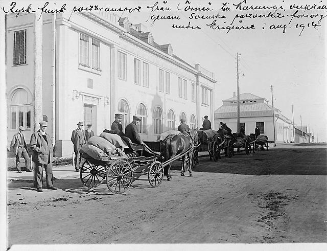 Rysk-finsk posttransport från Torneå till Karungi, verkställd genom svenska postverkets försorg under krigsåret i augusti 1914.