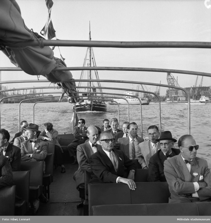 Reportage från Papyrus pressvisning den 29/8 1955. Båttur i Göteborgs hamn.