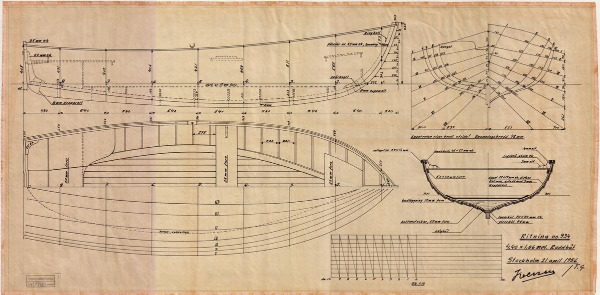 Spantruta, Linjeritning, Byggnadsritning i plan, profil och sektion.
