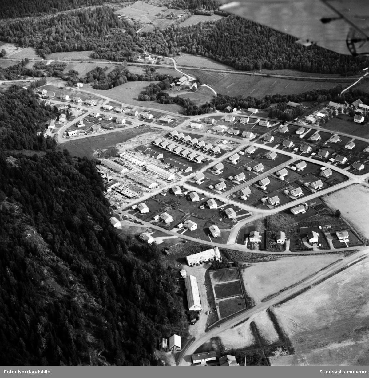 Flygfoto över villaområdet mellan nuvarande Timmervägen och Travbanevägen i Bergsåker. Byggnation pågår vid Tygelvägen.