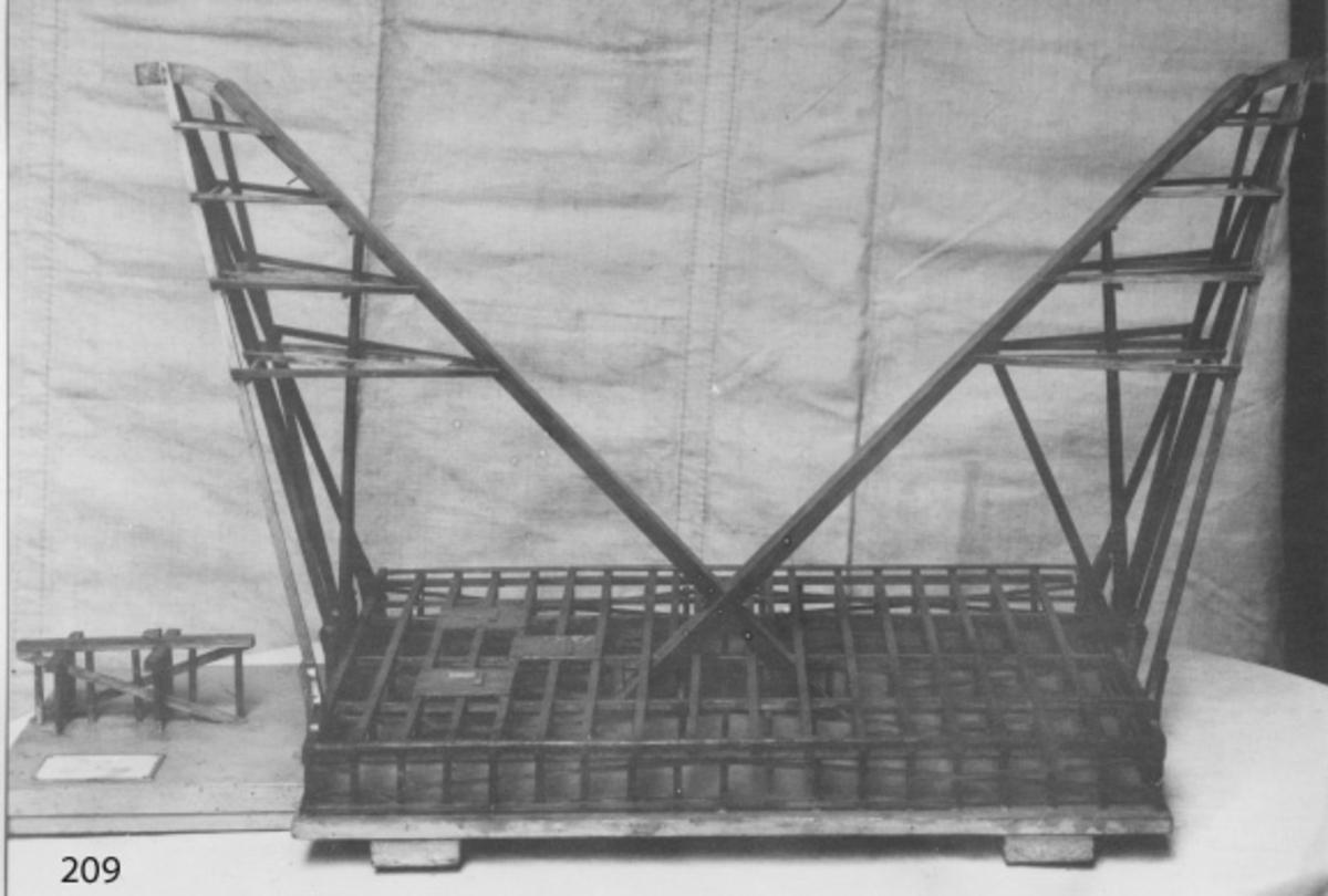 Modell av dubbel mastkran konstruerad så att en mastkran av trä finns på var kortsida av en öppen fackverkskonstruktion av träbalkar. Konstruktionen har antingen varit placerad på en brygga eller på en flotte. Däcket saknas förutom på tre mindre avsnitt. På dessa har det troligen varit placerat tre gångspel. Utanför fackverkskonstruktionen finns en mindre pålad träbrygga. Allt placerat på en bottenplatta av trä som torde visa vattennivån. Bottenplattan gråmålad, övrigt oljat.