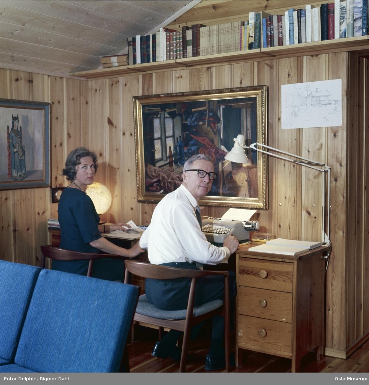 bolig, interiør, stue, skrivebord, mann, forfatter, kvinne