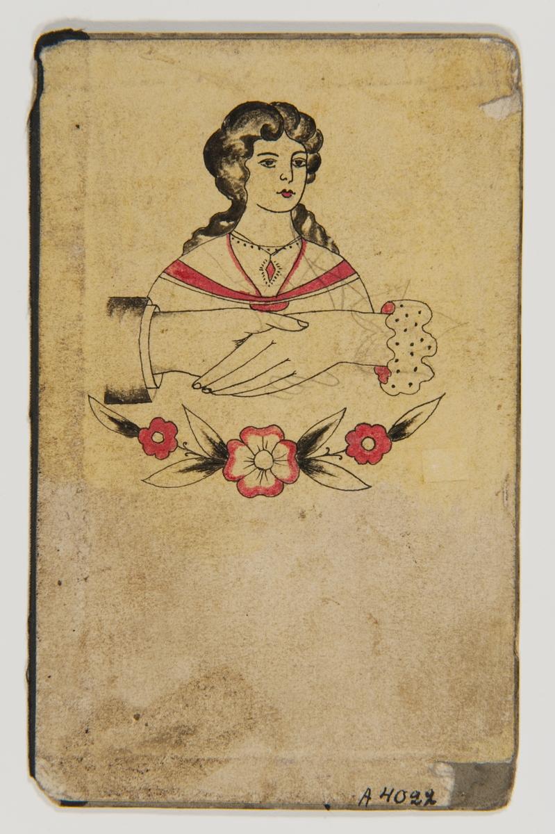 Tatueringsförlaga. Porträtt av en kvinna med en röd sten om halsen, därunder två händer hållande i varandra, underst en blomgirland.