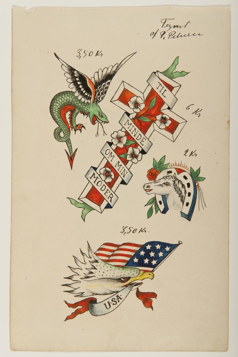 """Tatueringsförlaga. Fyra olika motiv. 1. En flygande drake i grönt med svarta vingar. 2. Ett rött kors dekorerat med vita blommor, omlindat av en banderoll med på skriften """"TIL MINDE OM MIN MODER"""". 3. Ett vitt hästhuvud omgärdat av en hästsko. 4. Ett örnhuvud med en vimpel med påskriften """"USA"""" och en amerikansk flagga i näbben.  2) """"En minnestatuering över sjömannens manna. Det finns några arketypiska kvinnobilder bland tatueringsförlagorna i Sjöhistoriska museets samlingar. Förutom den trogna fästmön finns den farliga fresterskan. Där finns också sjuksköterskor och kvinnliga matroser. Vid sidan av dessa kvinnor finns mamman. Det är inte ovanligt att hon är död. Tatueringen är ett sätt att hedra henne.""""   Text från appen """"Tatuera dig med Sjöhistoriska"""" som gjordes i samband med utställningen Tro, hopp och kärlek 2012."""
