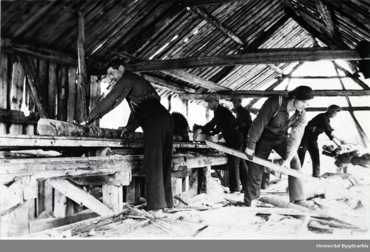 Furuhaugsaga i Hemsedal, ca. 1935. Frå venstre: Elling Berget Fremst til høgre Anfin Dalene