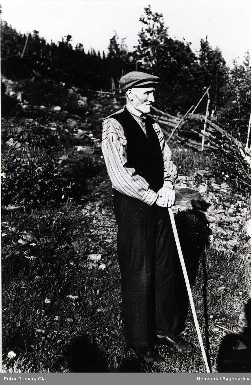 Knut Rundtop (1869-1957) heime på garden Rundtop, 55.13 i 1956.