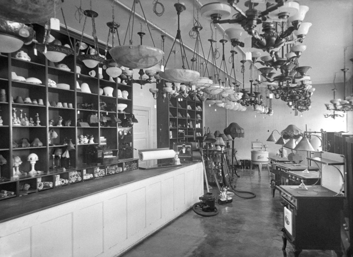 Siste Interiør, lampebutikk. Østlandsk Elektrisk. - Fredrikstad Museum MU-85