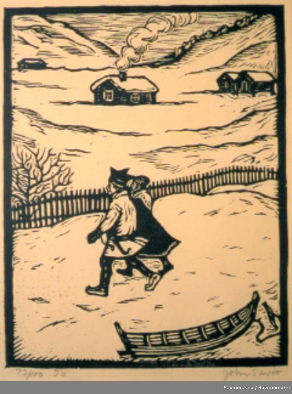 En liten trebåt i forgrunnen. Et koftekledd par som holder hverandre i hendene er det sentrale motivet. Bak dem et vinterlandskap med et gjerde, fire små trebygninger og fjell.