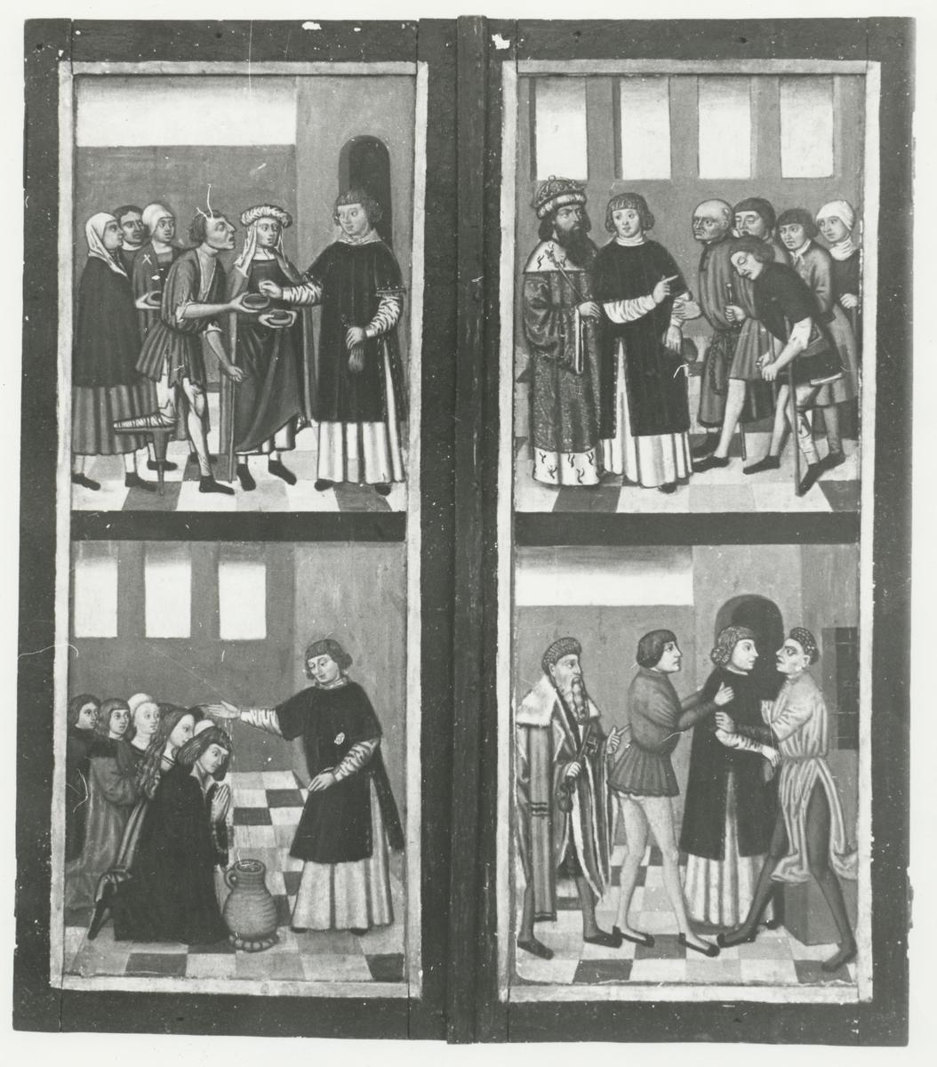 Gjenstandsfotografi av et alterskap fra Stranda kirke. Motiv fra ut- og innside.