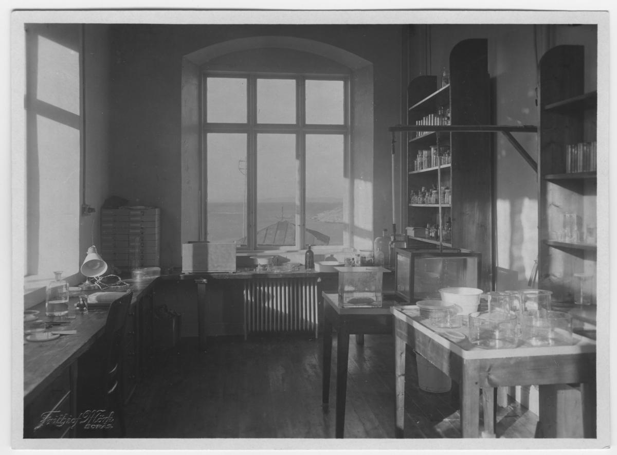 'Enligt foto: ''Föreståndarens laboratorium'': Rum med arbetsbänk, skåp, glasburkar och cylinderformade glasbehållare m.m. 2 st fönster med vy ut mot havet. ::  :: Ingår i serie med fotonr. 2876-2882.'