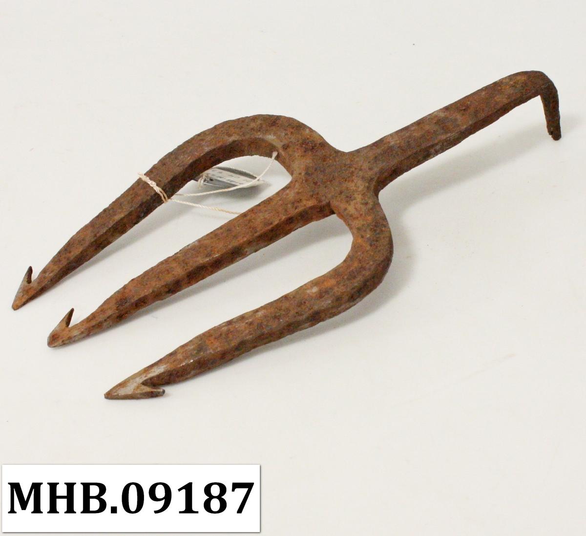 Lystr av jern med tre tinder som har hver sin mothakke. Øverst en tupp som før var trolig tappet inn i ett treskaft.