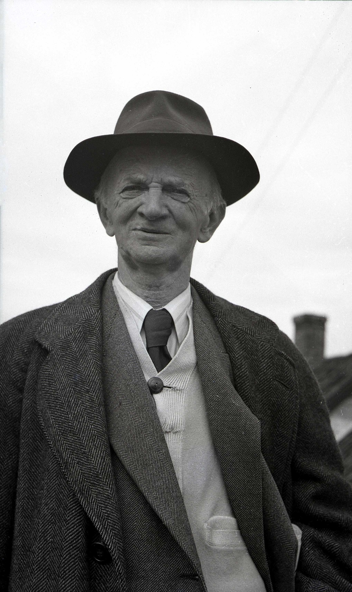 Portrett  - Eldre herre med hatt.