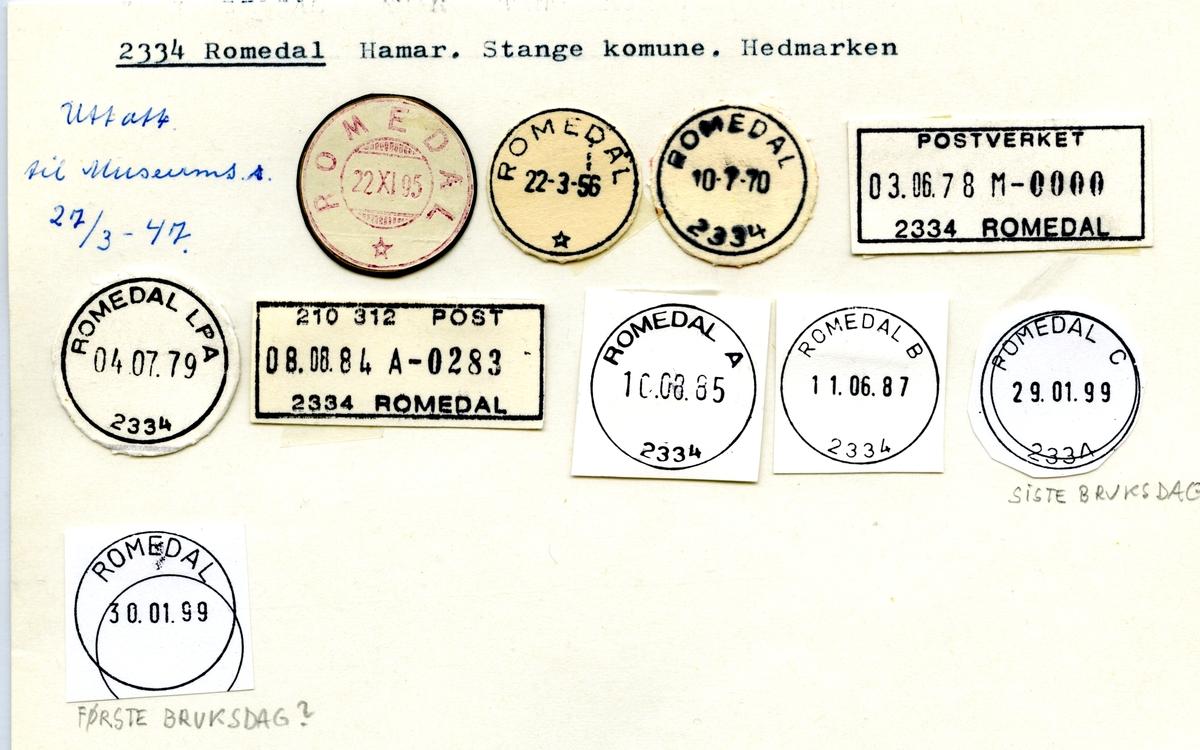 Stempelkatalog 2334 Romedal, Hamar, Stange, Hedmark