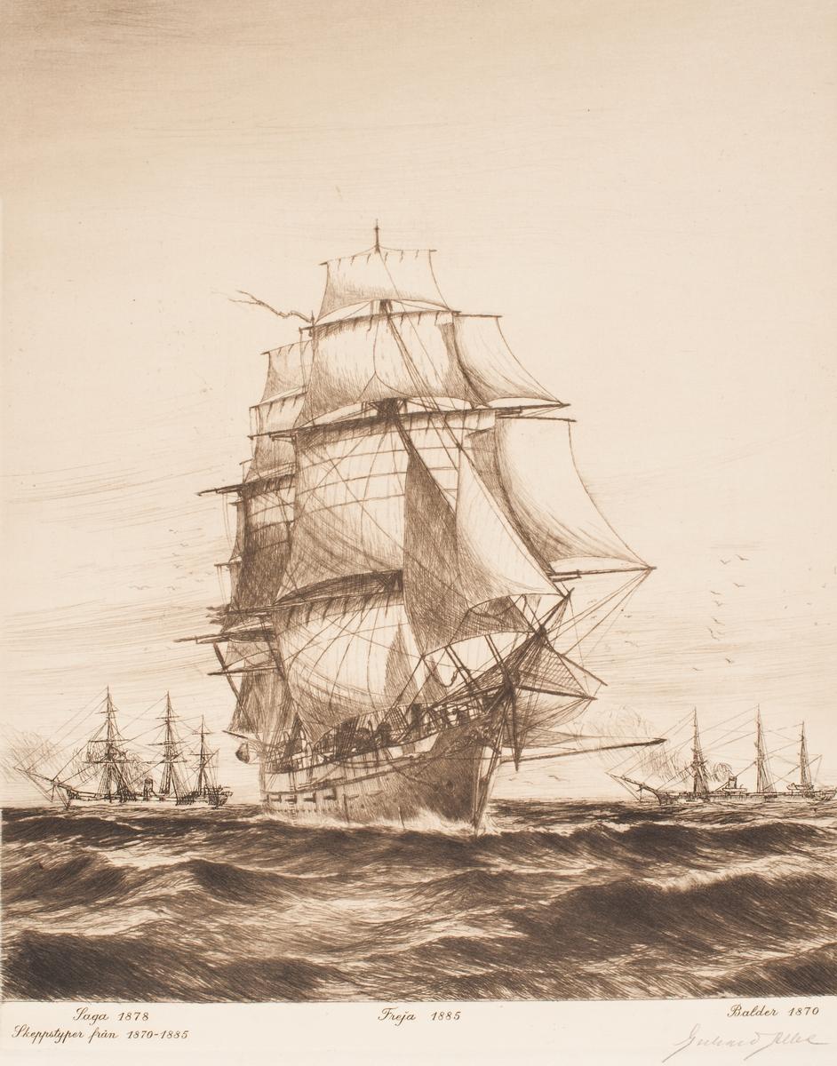 Skeppstyper från 1870-1885; Saga 1878, Freja 1885, Balder 1870.