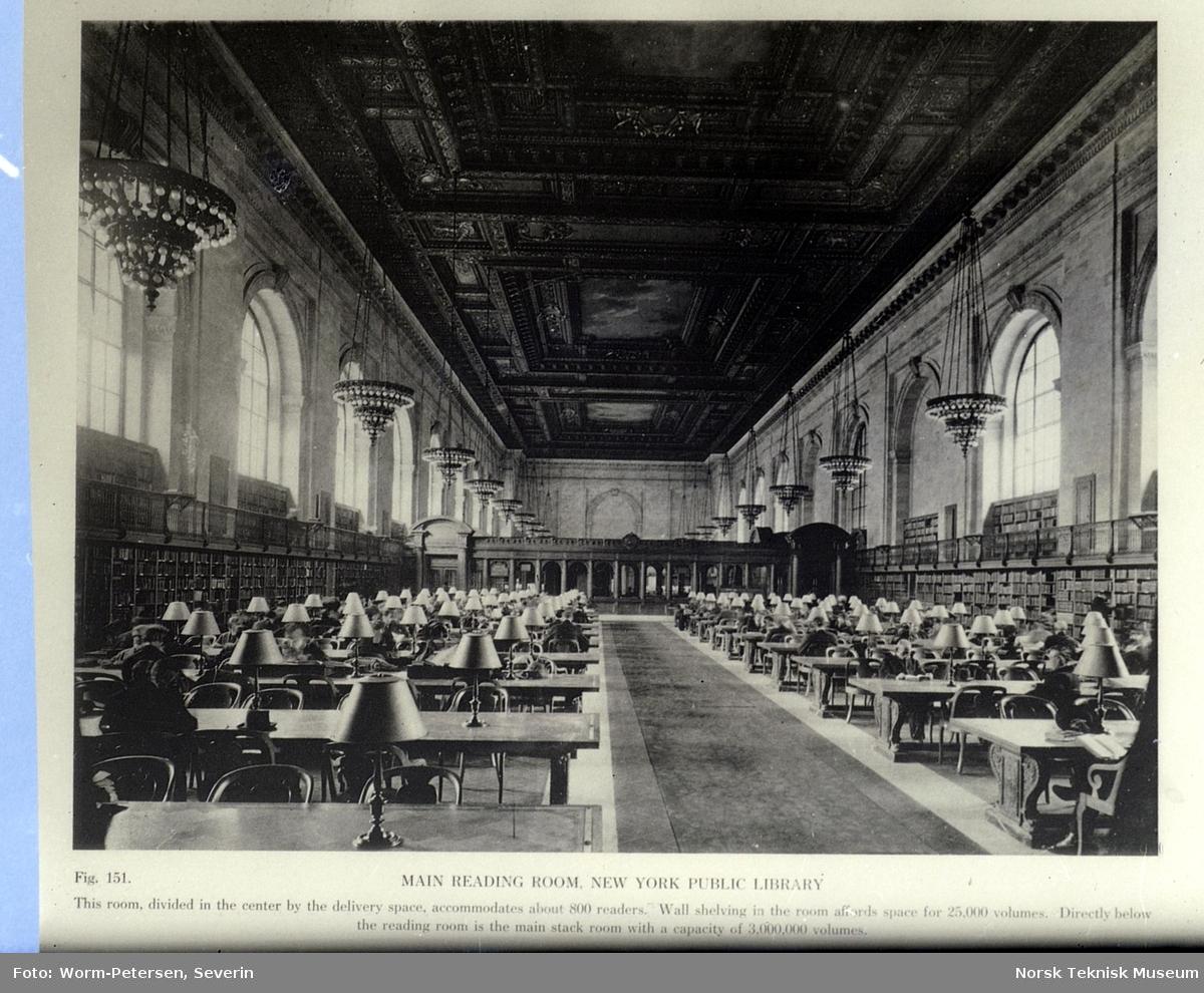 Hovedlesesalen i New York Public Library. Avfotografert.