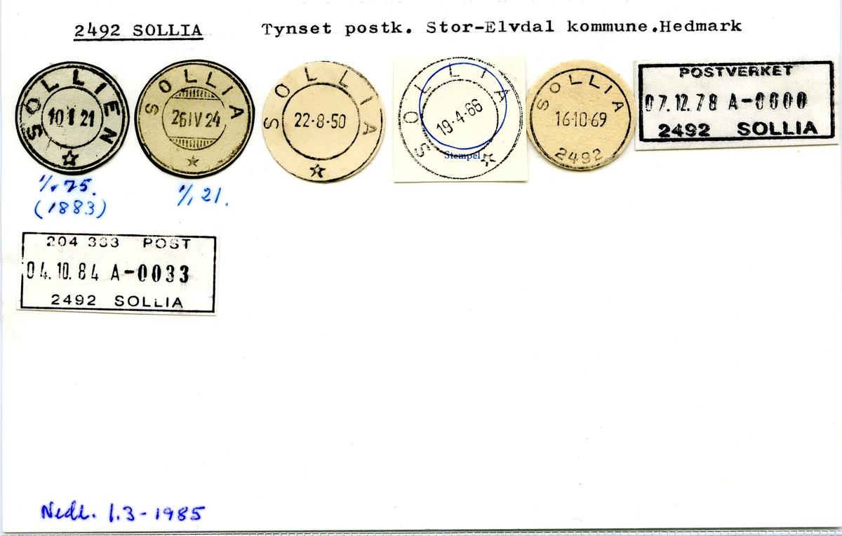Stempelkatalog  2492 Sollia, Stor-Elvdal kommune, Hedmark
