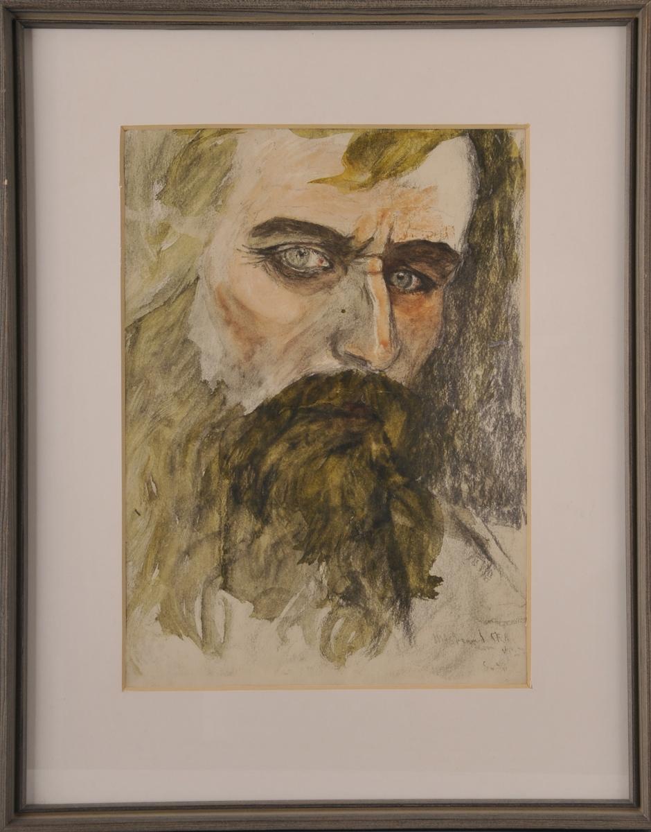 Portrett av mann med skjegg.