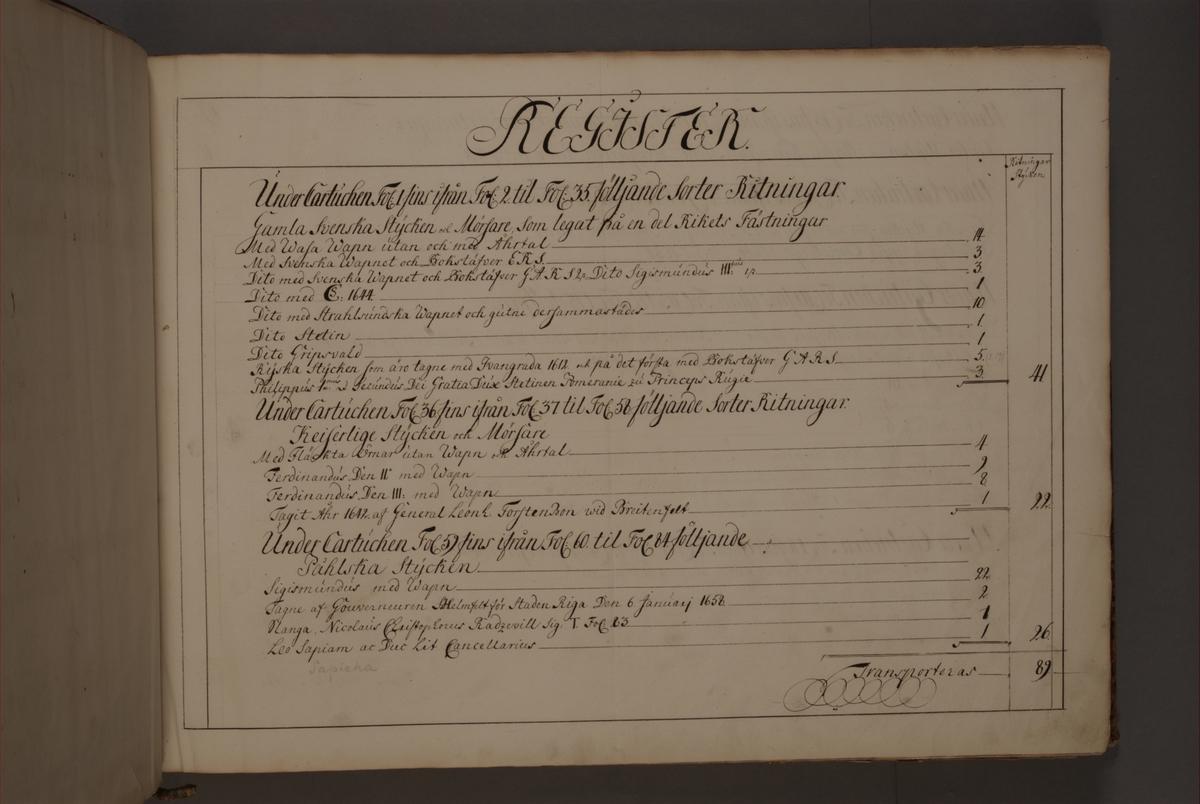 Inledning och register till bokverk med avbildningar föreställande äldre svenska eldrör förvarade på fästningar samt eldrör erövrade åren 1598-1679, utförda av syskonen Anna Maria och Philip Jakob Thelott.