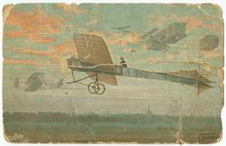 Vykort med motiv av ett tecknat flygplan i luften. Daterat d