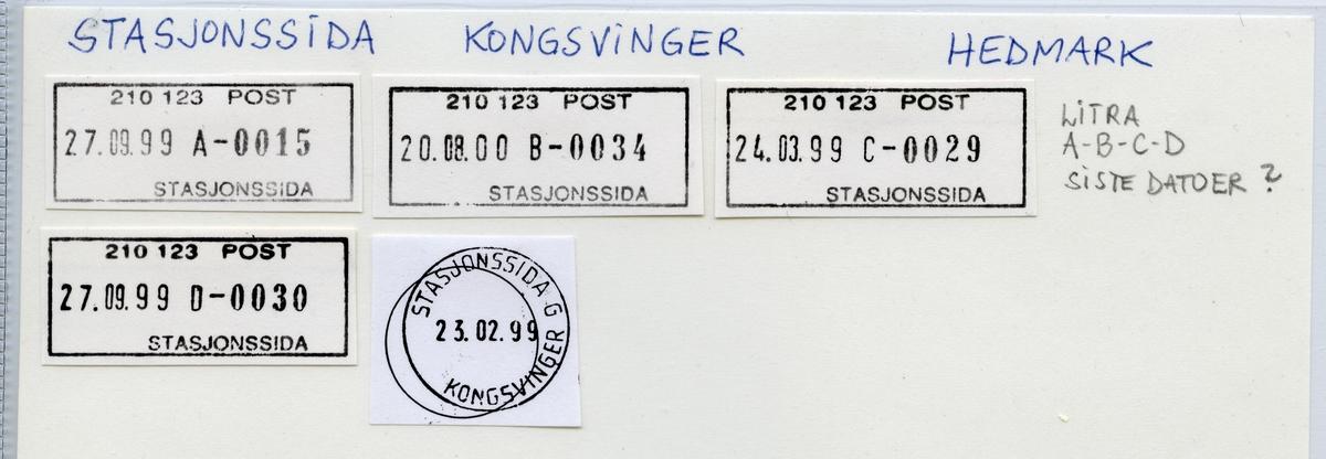 Stempelkatalog  Stasjonssida 2200 Kongsvinger, Kongsvinger kommune, Hedmark