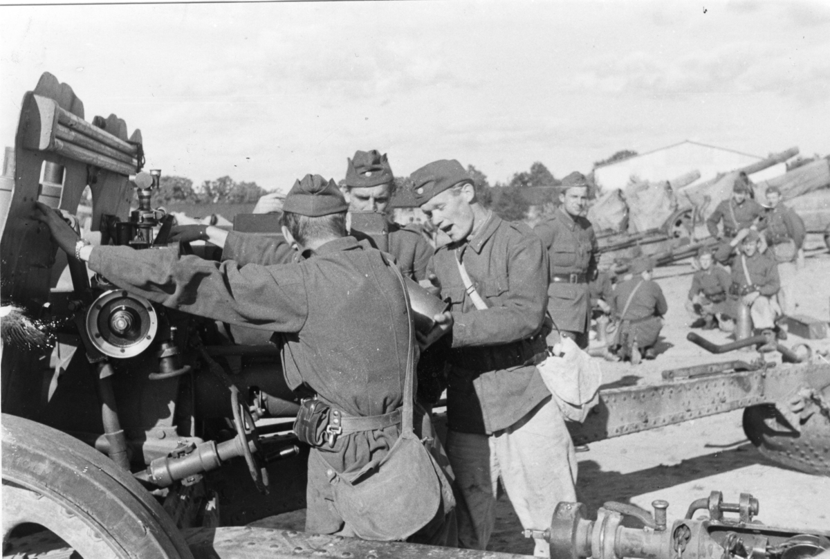 Pjäsexercis, A 6. Laddningsövning, 9.Batt. 15 cm Haubits m/1938.