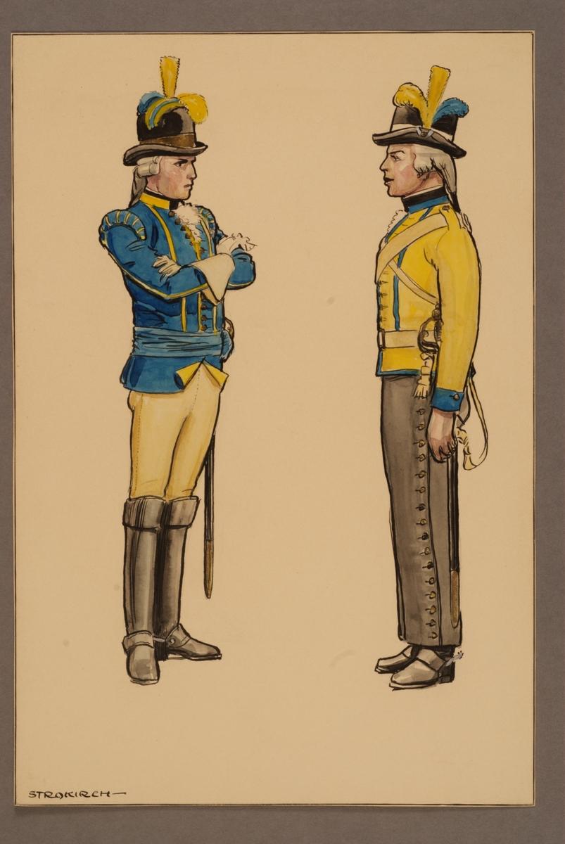 Plansch med uniform för officer och ryttare vid Västgöta kavalleriregemente. Båda i exerciskollet och ridbyxor m/1781. Ritad av Einar von Strokirch.