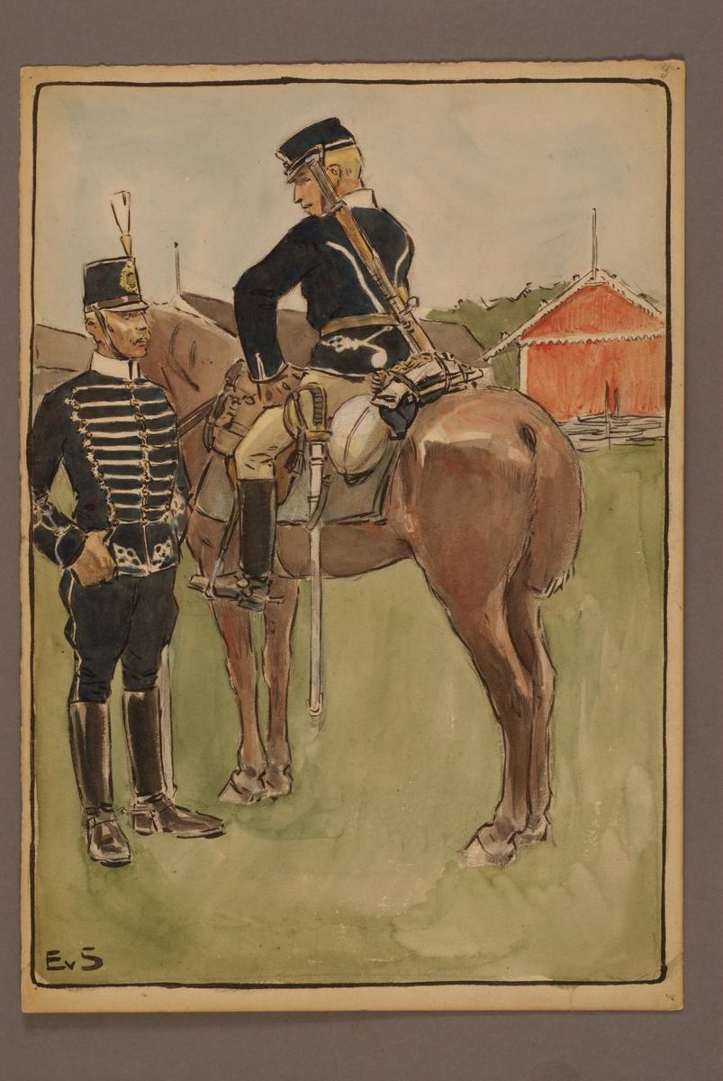 Plansch med uniform för Livregementets husarer, ritad av Einar von Strokirch.