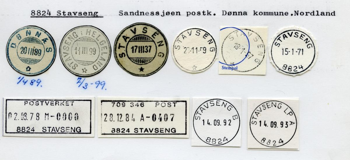 Stempelkatalog  8824 Stavseng, Dønna kommune, Nordland (Dønnæs)