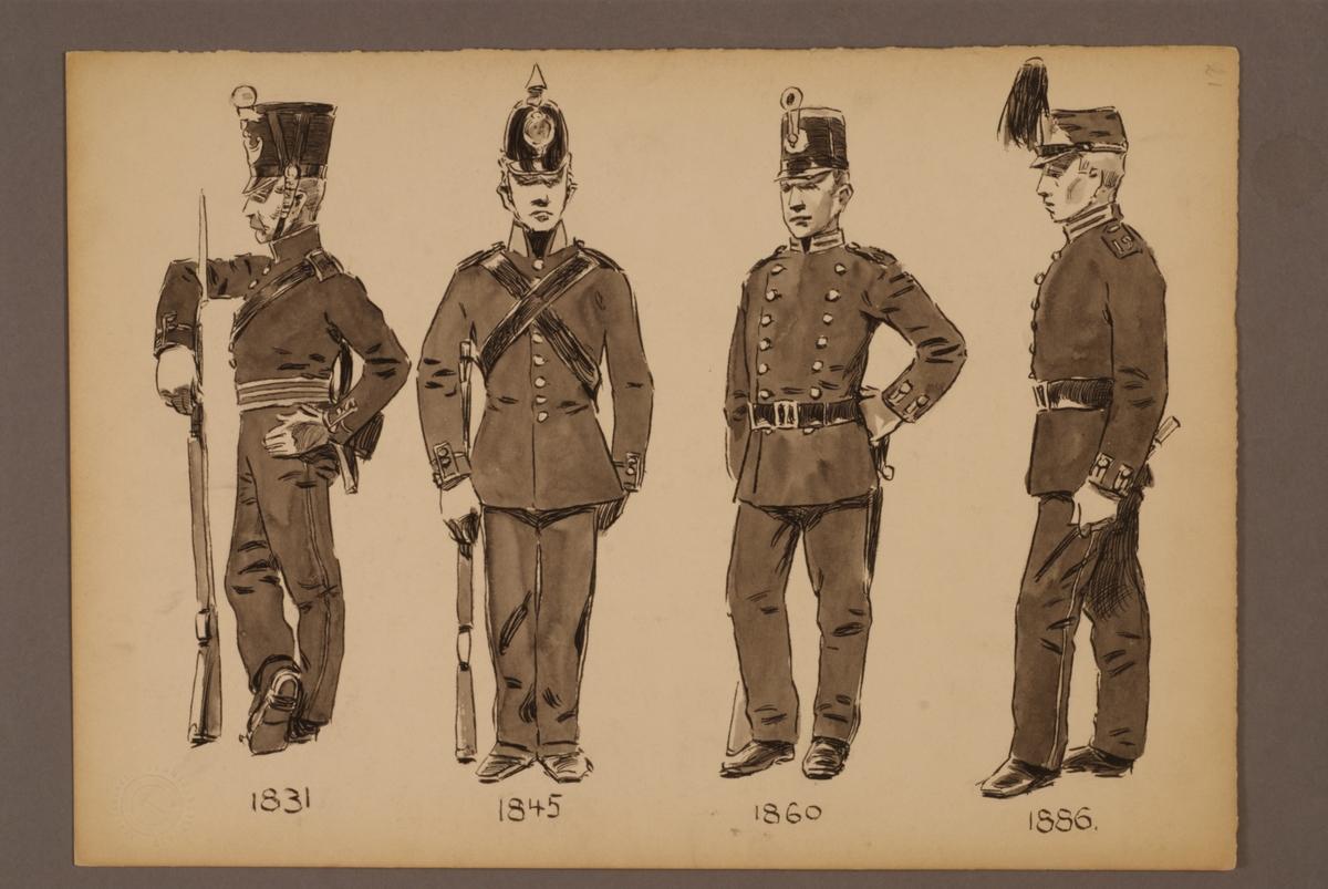 Plansch med uniform för Norr-och Västerbottens fältjägarregementen för åren 1833-1886, ritad av Einar von Strokirch.