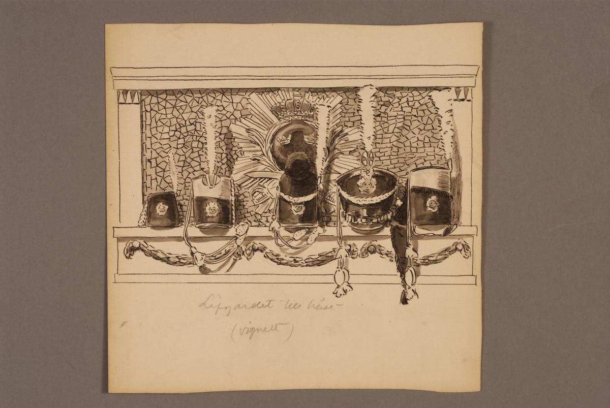 Plansch med huvudbonader för Livgardet till häst, ritad av Einar von Strokirch.